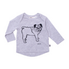 Pug Long Sleeve Tee - Grey