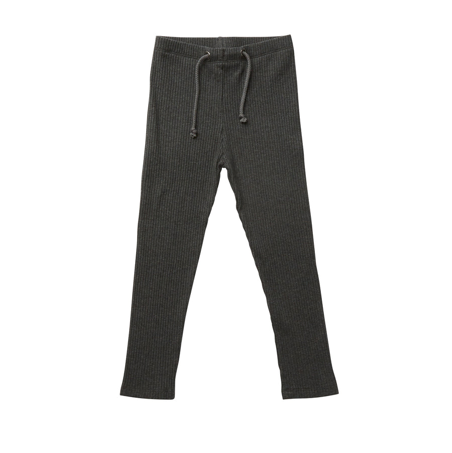 Hootkid Basic Rib Legging - Charcoal - Annie and Islabean