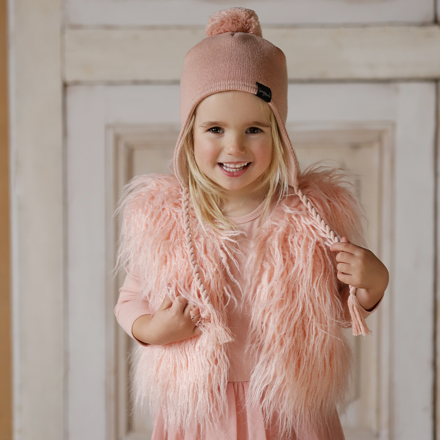 Kapow Kids Dusty Rose Kntted Pom Pom Beanie