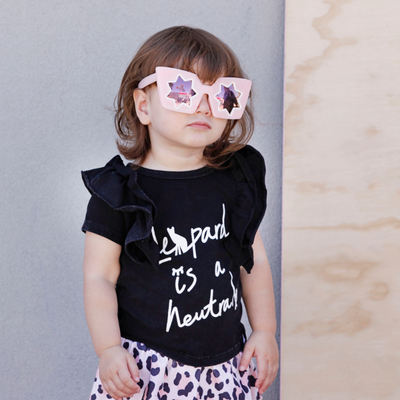 KaPow Kids Leopard is a Neutral Ruffle Tee - Annie and Islabean