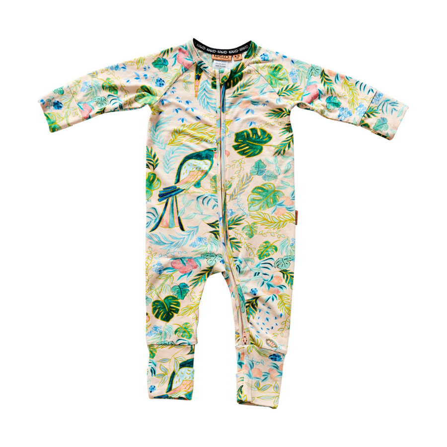 Kip & Co Birds Of Paradise Organic Zip Romper - Annie and Islabean