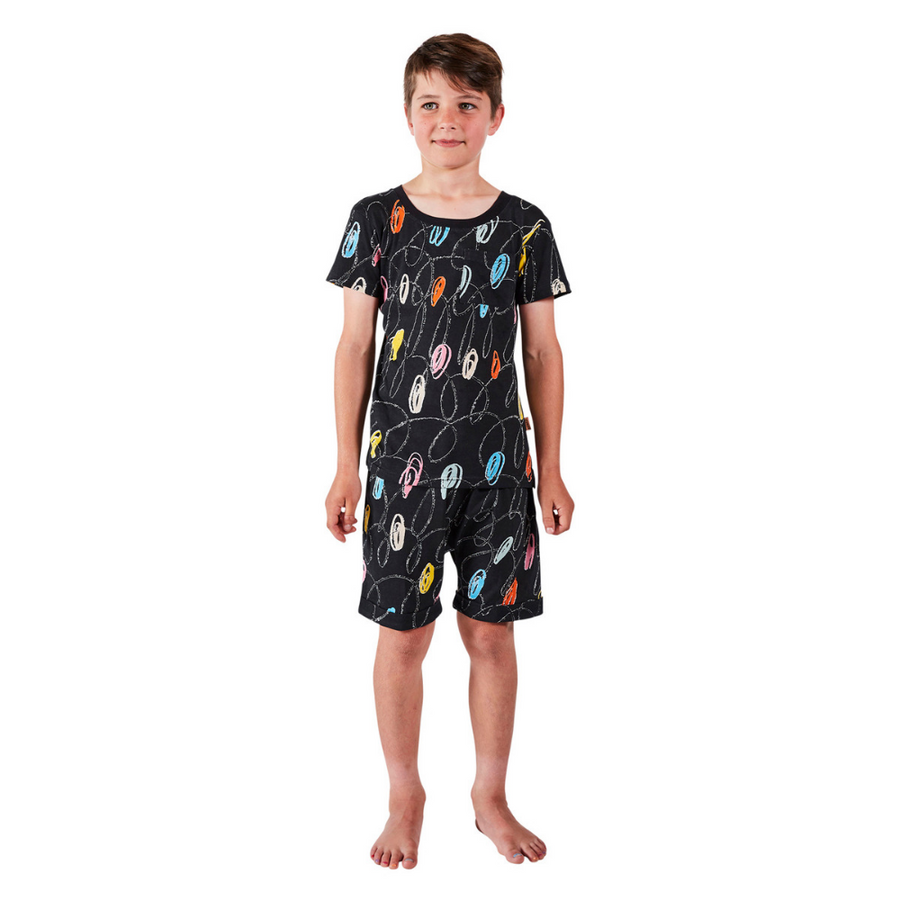 Kip & Co Chalkboard Black Short Sleeve PJ Set