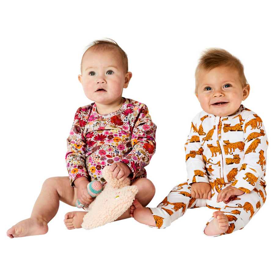 Kip & Co Cheetah Organic Zip Romper - Annie and Islabean