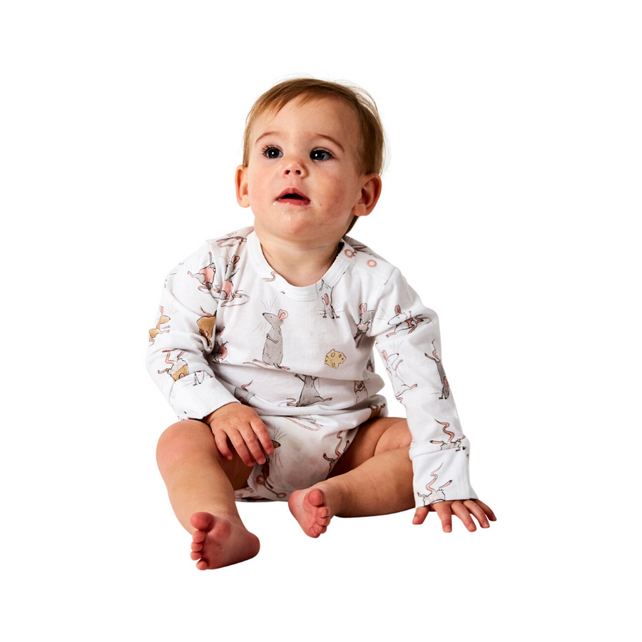 Kip & Co Mousing Around Organic Long Sleeve Romper