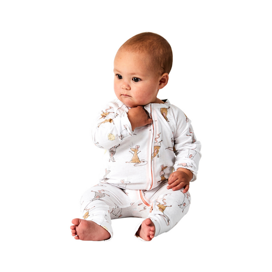 Kip & Co Mousing Around Organic Zip Romper