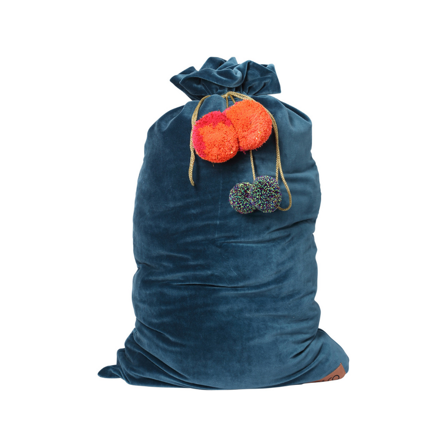 Kip & Co Teal Velvet Santa Sack