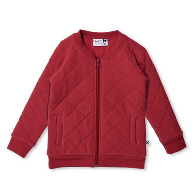 Minti Furry Quilted Bomber - Ruby Red