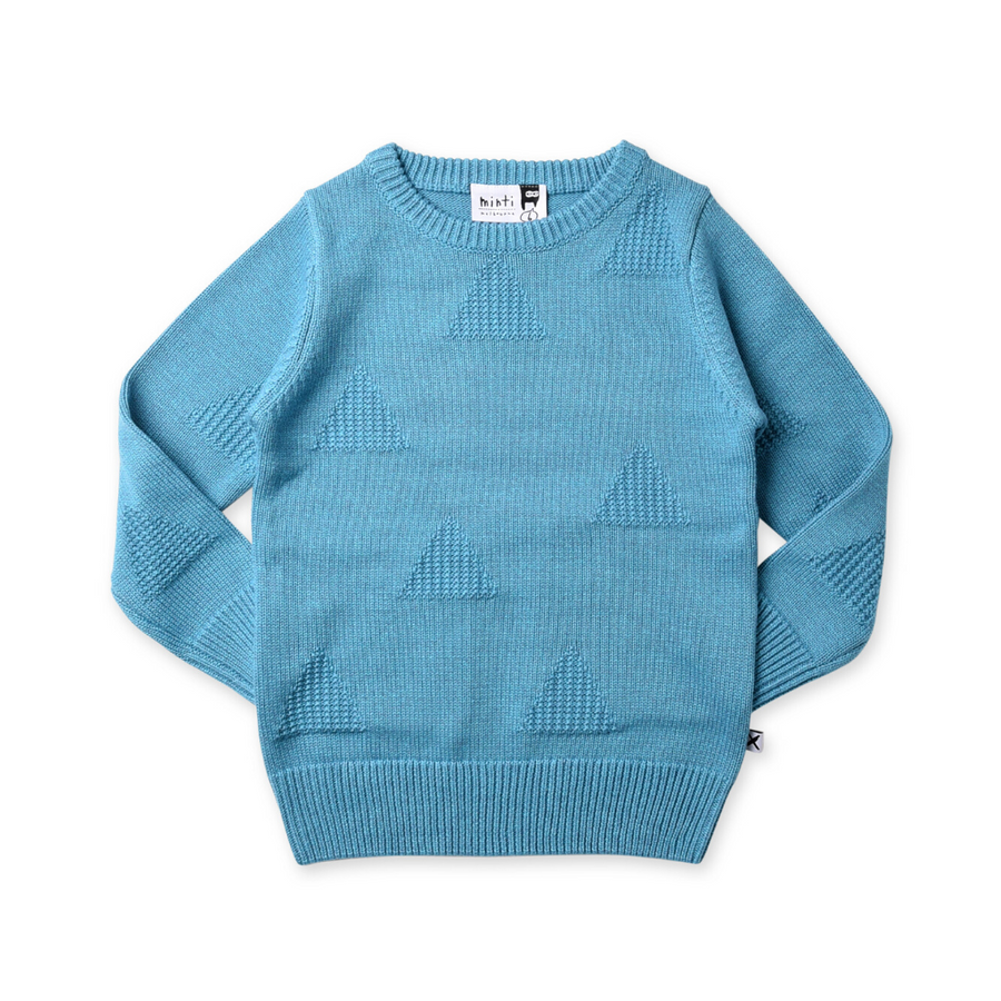 Minti Triangles Knit Crew - Ice Blue Motley