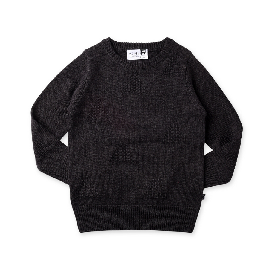Minti Triangles Knit Crew - Charcoal Motley