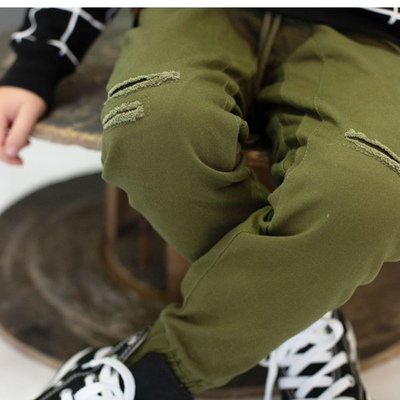 OOVY Olive Distressed Chino Pants