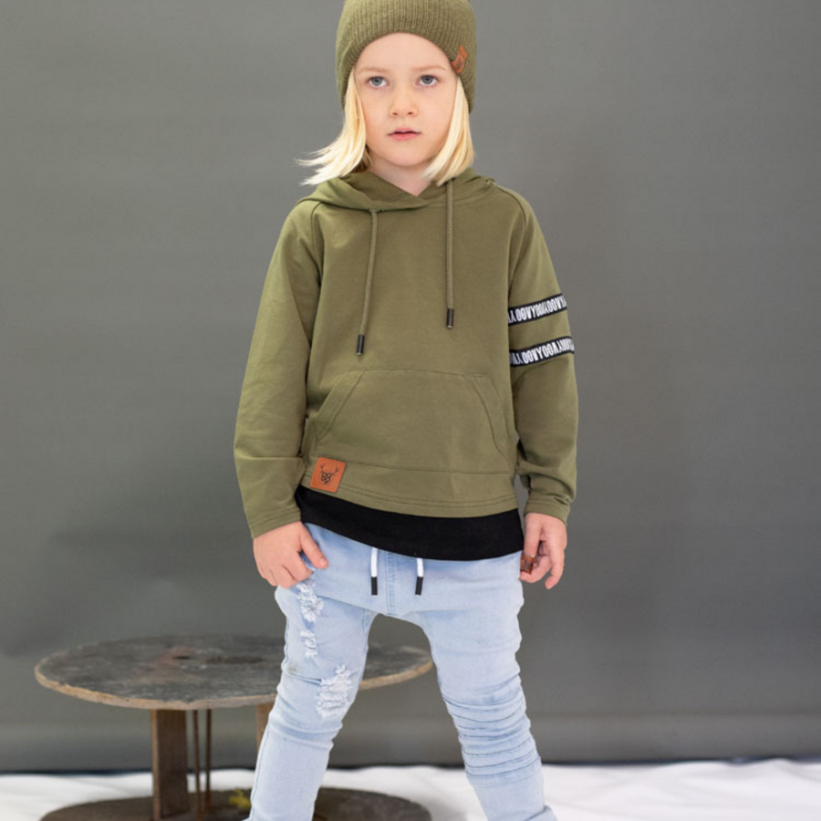 OOVY Olive Long Sleeve Hooded Top