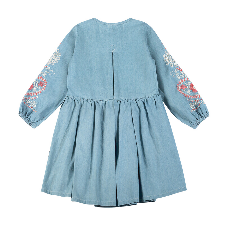Paper Wings Folk Embroidery Pleated Dress