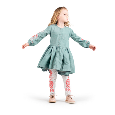 Paper Wings Folk Embroidery Pleated Dress - Annie and Islabean