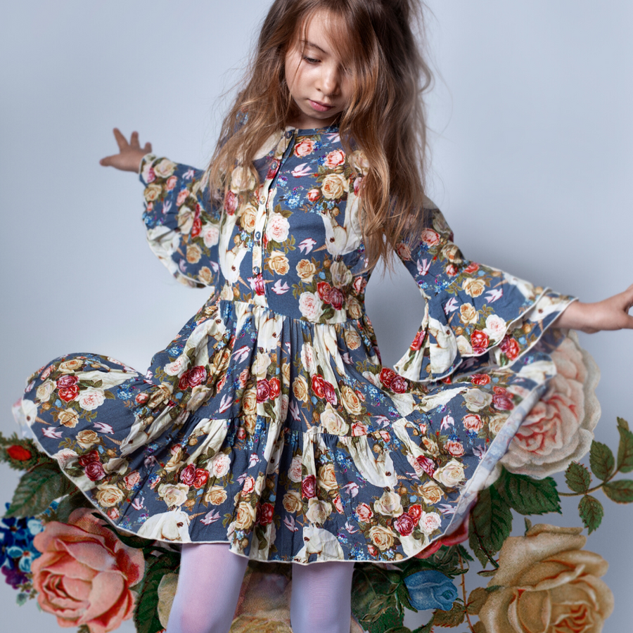 Paper Wings Rose Unicorn Bell Sleeve Frilled Dress - Blue
