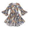 Paper Wings Rose Unicorn Bell Sleeve Frilled Dress - Blue - Annie and Islabean