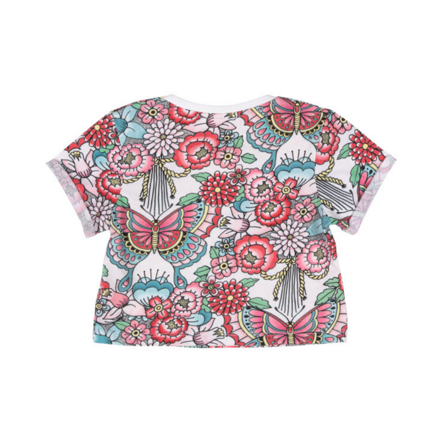 Paper Wings Tattoo Flowers Cropped Tee - Annie and Islabean