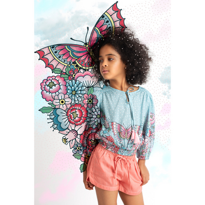 Paper Wings Tattoo Flower Peasant Top - Annie and Islabean