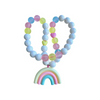 Red Bobble Pastel Rainbow Necklace