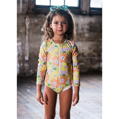 Rock Your Baby Flower Power Long Sleeve One-Piece Swimsuit