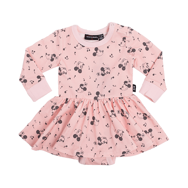 10172cd31c4 Rock Your Baby Musical Mickey Long Sleeve Waisted Dress