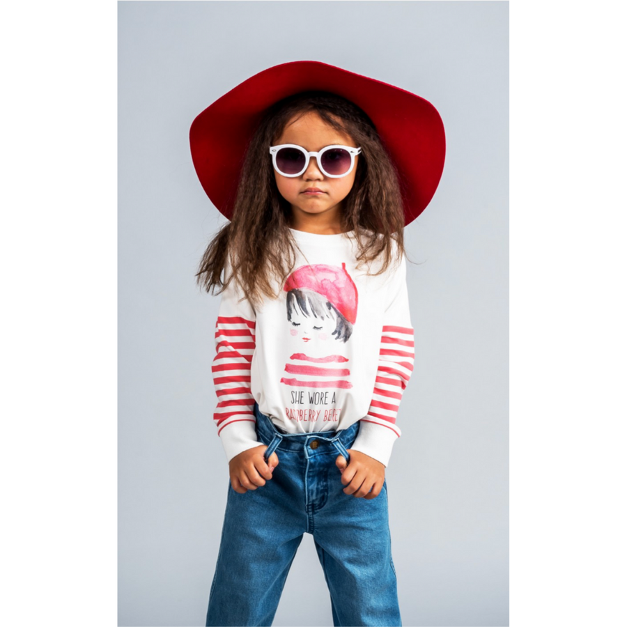 Rock Your Baby Raspberry Beret T-Shirt - Annie and Islabean