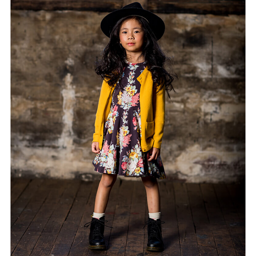 Rock Your Baby Midnight Chintz Long Sleeve Waisted Dress - Annie and Islabean