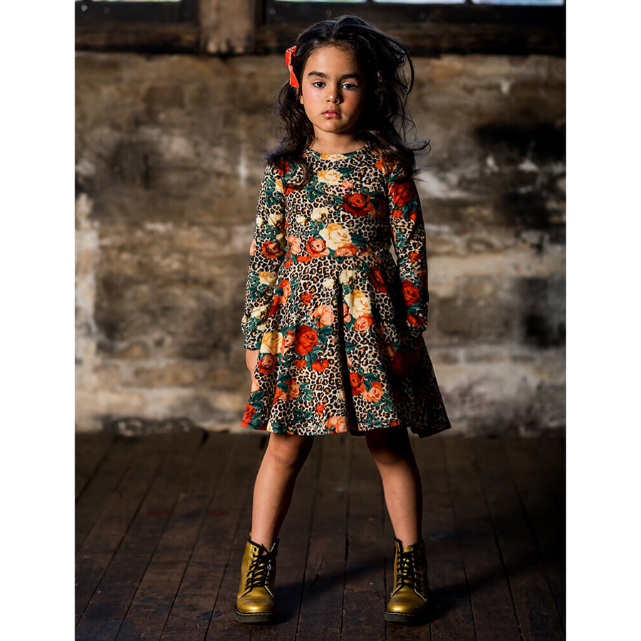 Rock Your Baby Rose Leopard Long Sleeve Waisted Dress - Annie and Islabean