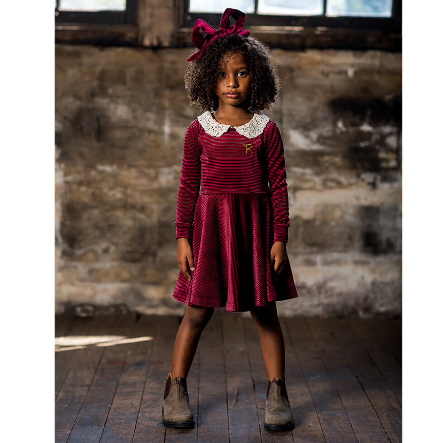 Rock Your Baby Velvet Stripe Long Sleeve Waisted Dress - Annie and Islabean