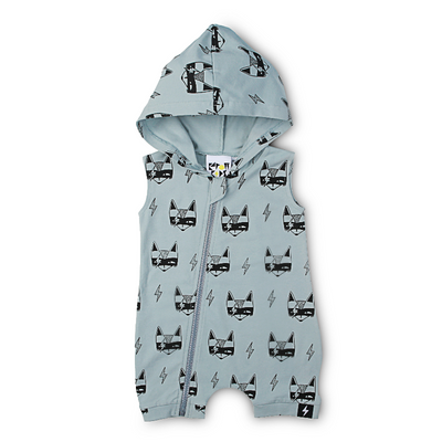 KaPow Kids Super Fox Hooded Zip All-in-one - Dusty Blue - Annie and Islabean