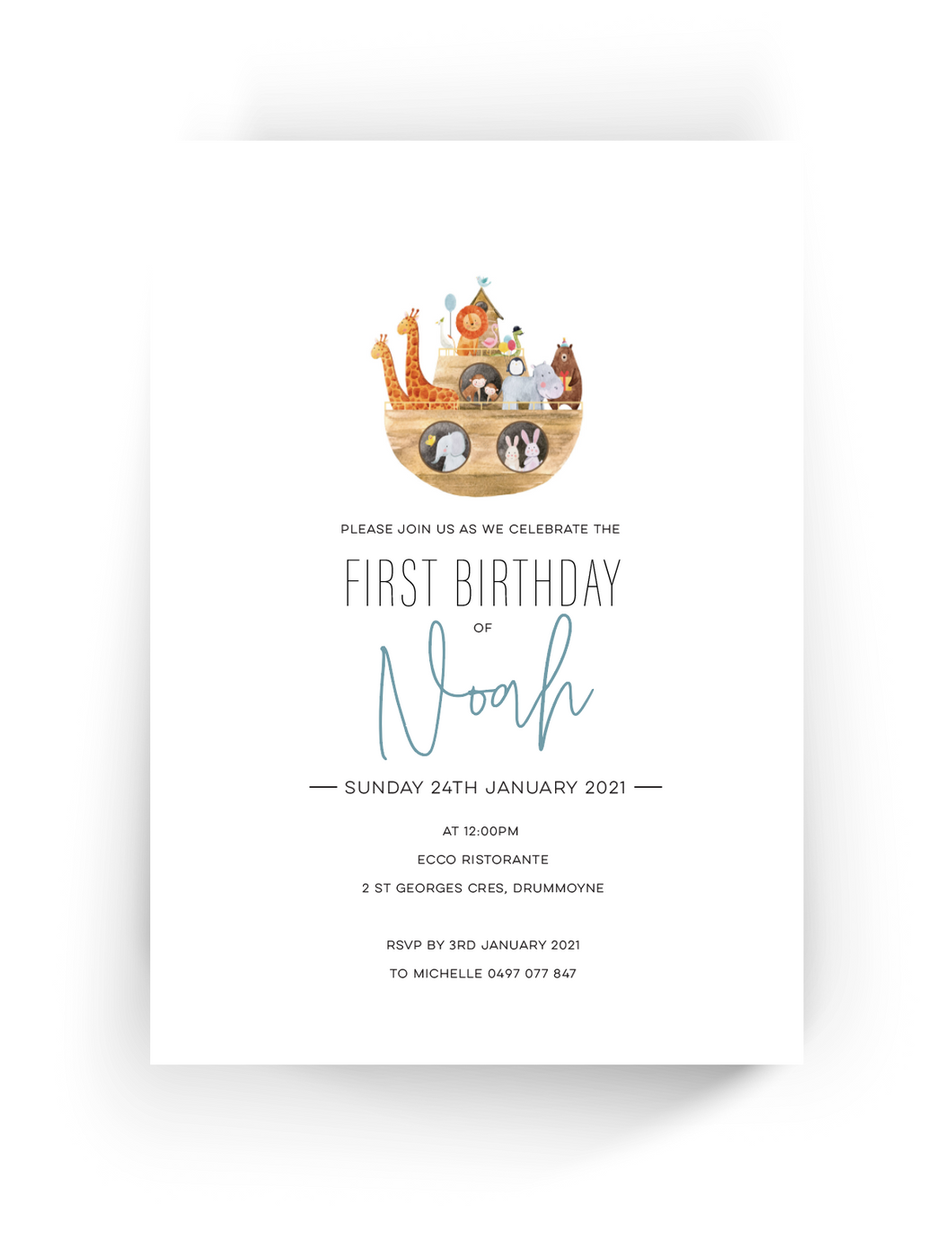 'Noah' First Birthday Invitation