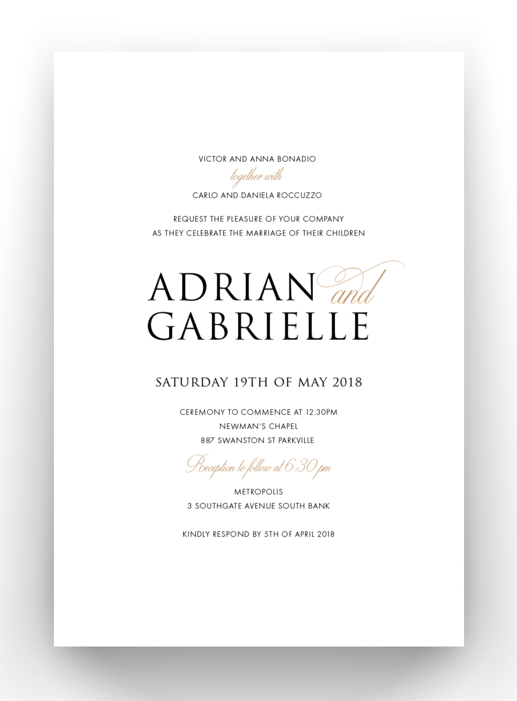'Gabrielle' Wedding Invitations