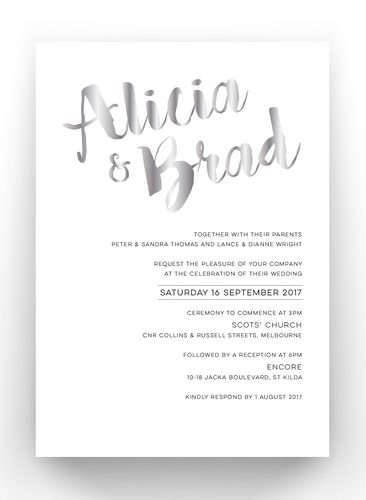 Alicia Print and Foil Invitations