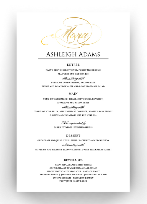 Personalised & Foiled Table Menu