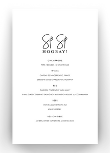 Printed Table Menu