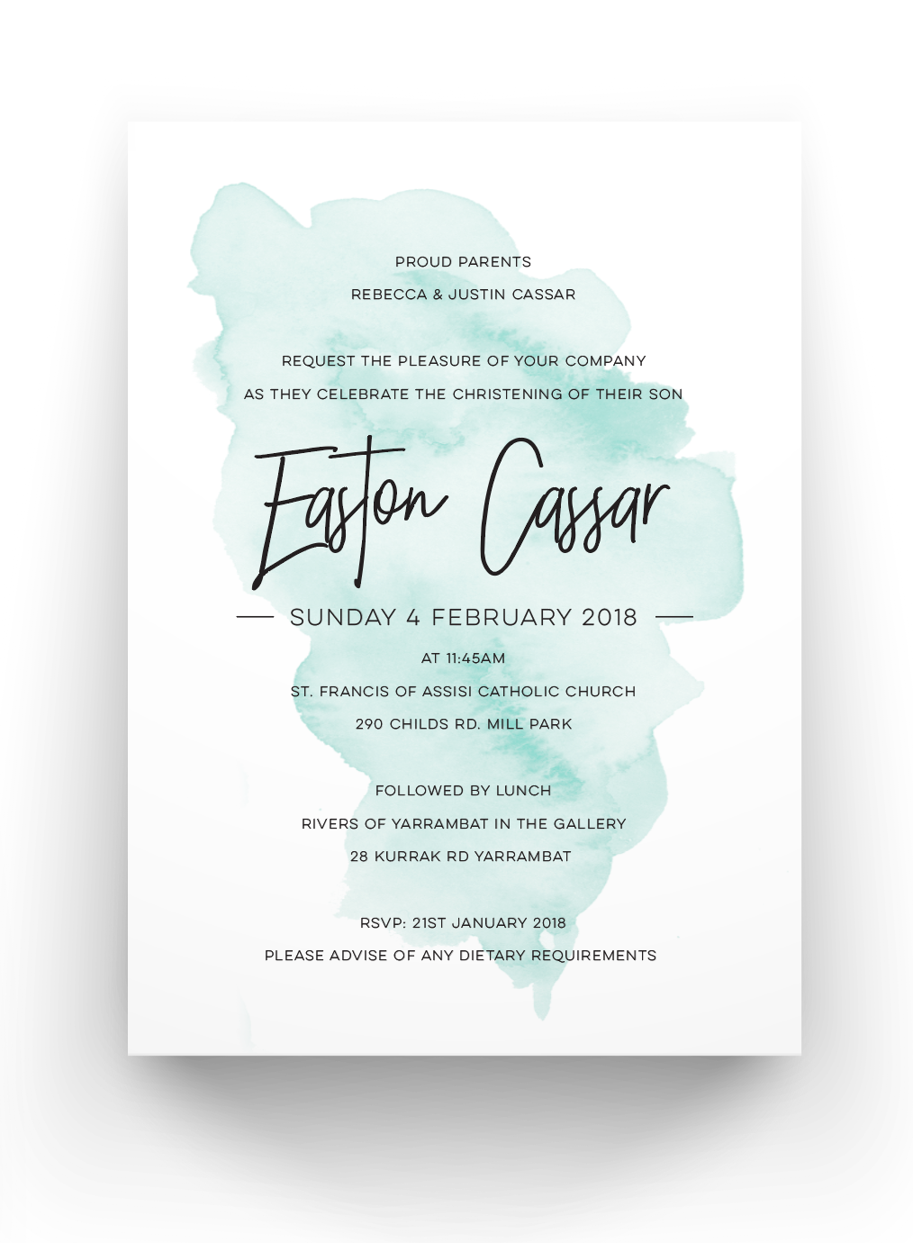 Easton Baby Baptism Invitation