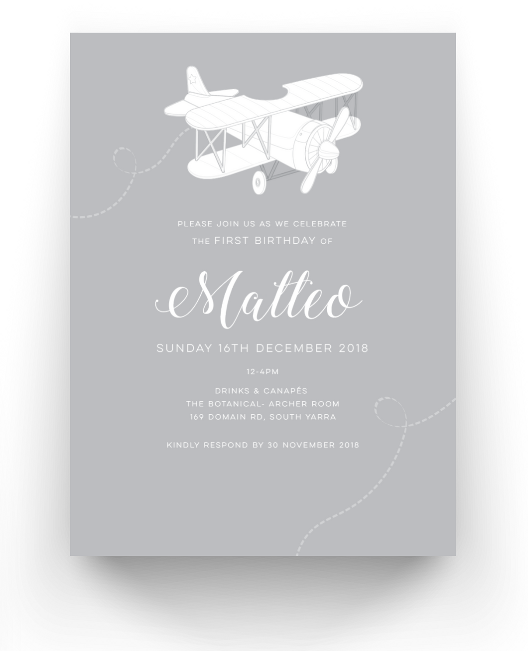 Matteo Baby Invitations