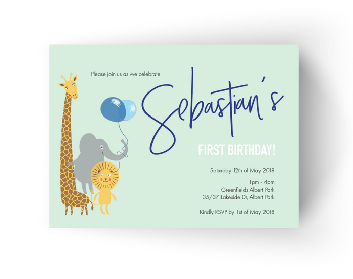 'Sebastian' First Birthday Invitations