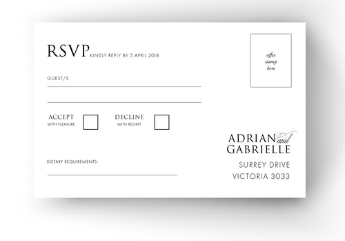RSVP Cards - to match your Invitations