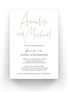 Wedding Date Change Cards - Postponed Wedding Cards