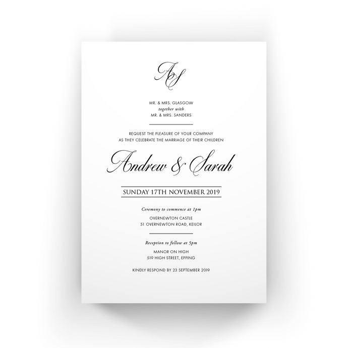 'Sarah' Wedding Invitation