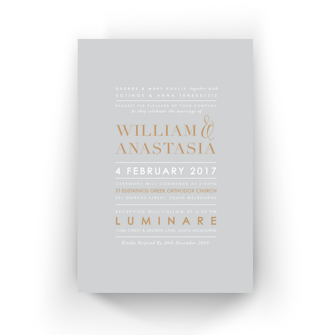 'Anastasia' Wedding Invitation