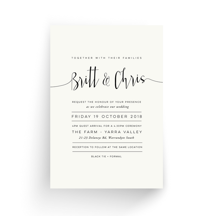 'Brittany' Wedding Invitation