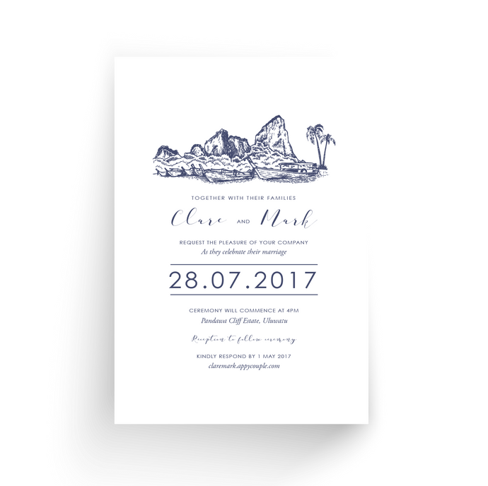'Clare' Wedding Invitation