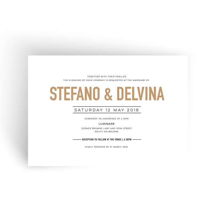 'Delvina' Wedding Invitation