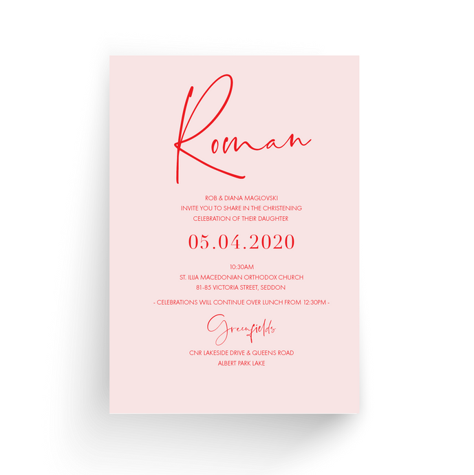'Roman' Baby Christening Invitation