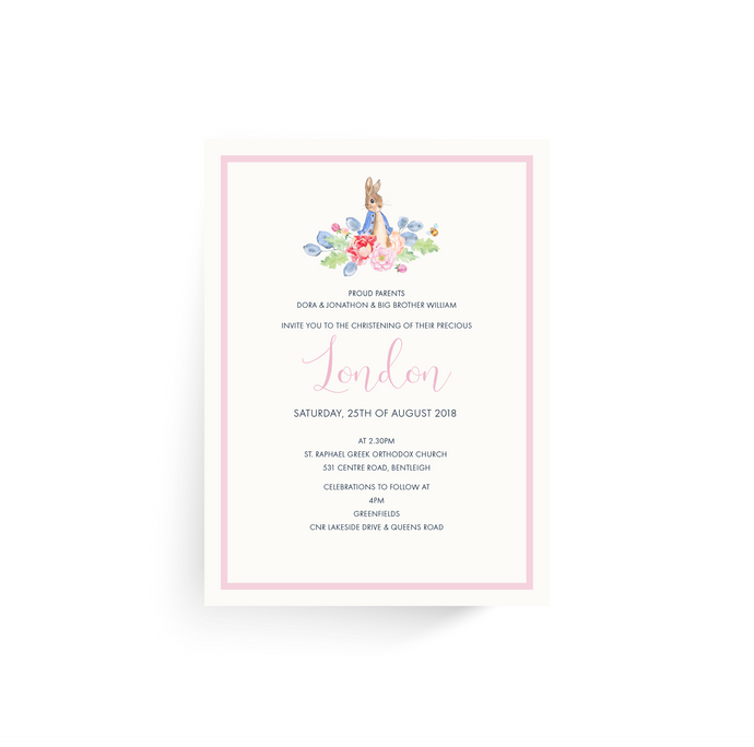 'London' Baby Baptism Invitation