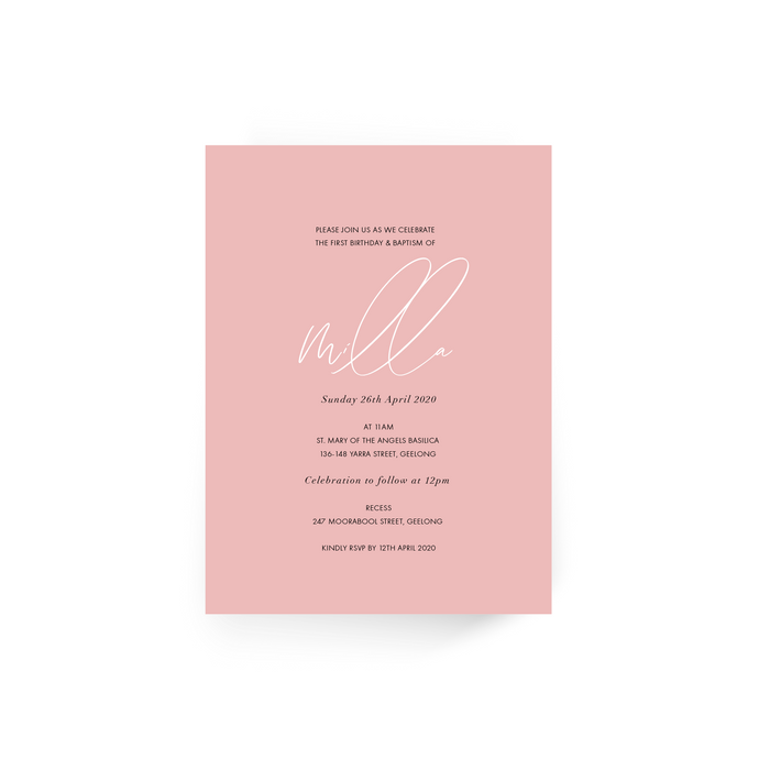 'Milla' Baby Christening Invitation