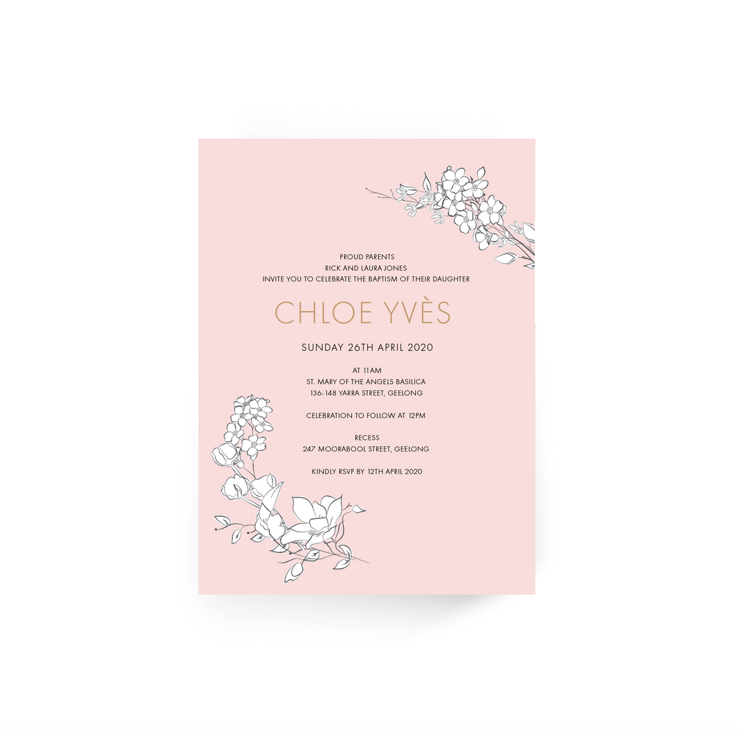 'Chloe' Baby Christening Invitation
