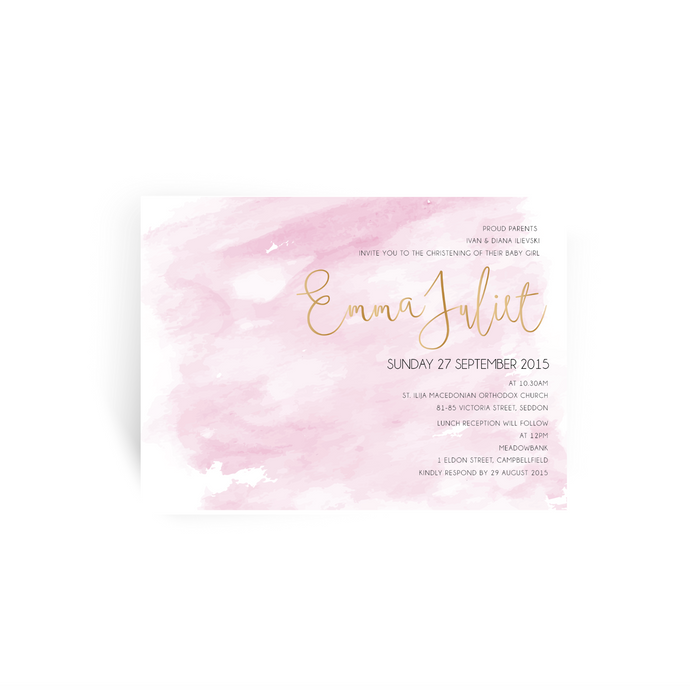'Emma' Baby Christening Invitation