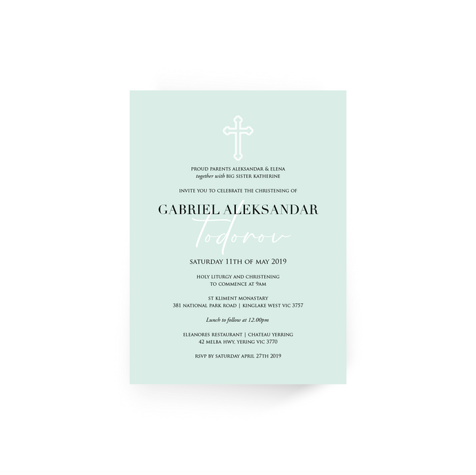 'Gabriel' Baby Christening Invitation